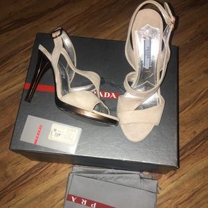 Authentic Prada nude and bronze heels